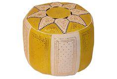 Moroccan Leather Pouf, Yellow on OneKingsLane.com