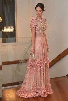 pink gown with floral details xo