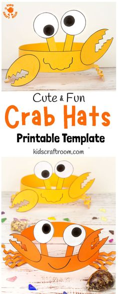 Celebrate Summer with Cute And Fun Crab Hats! These crab headbands are adorable and easy to make with the printable crab craft template. Such a fun ocean and Summer beach craft for kids. #kidscraftroom #kidscrafts #crabs #crabcrafts #Summercrafts #oceancrafts #papercrafts Beach Crafts For Kids, Beach Themed Crafts, Toddler Crafts, Beach Kids, Funny Crafts For Kids, Summer Crafts For Preschoolers, Arts And Crafts For Kids For Summer, Children Crafts, Crab Crafts
