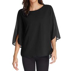 Women's Casual Chiffon Blouse Tops Half Ruffle Sleeve >>> Be sure to check out this awesome product. (This is an affiliate link) Chiffon Fabric, Chiffon Tops, Elegante Jumpsuits, Sequin Tank Tops, Ruffle Sleeve, Shirt Sleeves, Women's Casual, Tunic Tops, Blouse