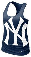 New York Yankees MLB Nike Women's Navy Cotton Racerback Tank