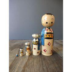 Vintage Kokeshi Dolls - Wooden Japanese Dolls - Bobble Head Stacking Dolls