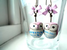 Pink Owl Earrings  Kawaii Jewelry Hand Painted by QuirksAndCrafts, $26.00