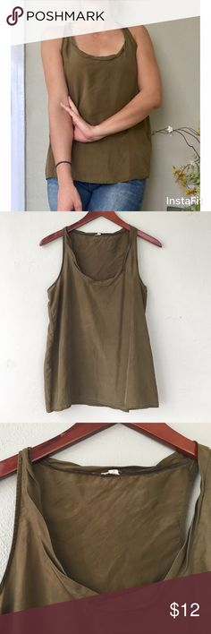 100% Silk J Crew olive green tank 100% silk, lightweight, and super comfortable. Beautiful olive green. Like new condition. Runs large. J. Crew Tops Tank Tops
