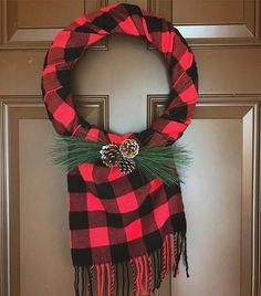 Love the scarf - really makes the wreath! I LOVE all things buffalo plaid!! This buffalo scarf wreath includes shipping!!! Get it before they are gone! Measures approx 15 inches in diameter. Winter scarf wreath! #winter #christmas #winterwreath #wreath #buffalocheck #buffaloplaid
