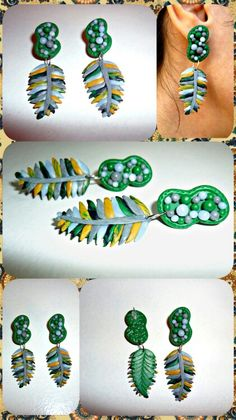30.18$ Kaan.D KaanDecoration boho style bohemian bohemia green fashion diy polymer clay hippie hippies indie bijoux jewelry jewellery jewels gift for her earrings Indian feathers earrings, green gray hippie earrings, multicolored feather, gift for her sterling silver etsy
