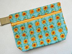 Cosmetic Case Bag Purse Pouch Tote - READY TO SHIP - Accessories - Fabric - Zippered - Flowered - Flowers - Diabetic - Sunflowers - Cyndee by CyndeesGarden on Etsy