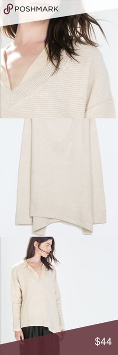 ZARA BEIGE SWEATER WITH ASSYMETRIC HEMLINE Such a beautiful neutral colour! Light beige with a deep V neck and Assymetric hem .. Brand new with tags. Zara Sweaters