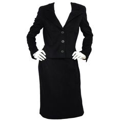 CHANEL Black Cashmere Jacket & Skirt Suit Set