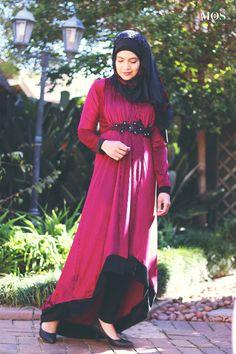 Berry Textured Velvet Hi-Low dress by Ruhee Collection   My Online Souk   www.myonlinesouk.co.za Hi Low Dresses, Modest Dresses, Eid, Berry, Velvet, Clothes, Collection, Design, Fashion