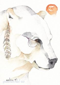 SPIRIT BEAR watercolor aceo PRINT giclee Shaman - Free Shipping Title: Shaman Size: 3.5 x 2.5 inches 10,000 years ago the earth was