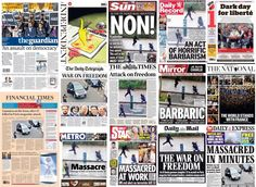 Sharp contrast to German papers showing the art that cost #CharlieHebdo staff so dearly: UK fronts via @suttonnick