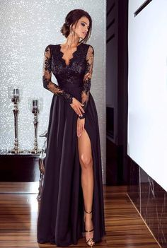 Plunge Neckline Sheer Lace Bodice Maxi Dress - Black