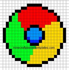 Minecraft Pixel Art Templates: Google Chrome Logo