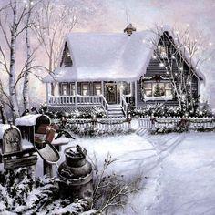 """Old Farm House"" Christmas Painting"