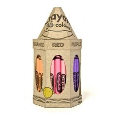 Crayola packaging concept designed by Jessica Ng. Very clever branding matching the packaging to the product inside.