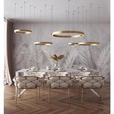 of the day: White + Gold dining room. Love the mesmerizing lighting and color s… of the day: White + Gold dining room. Love the mesmerizing lighting and color scheme! Luxury Dining Room, Dining Room Design, Room Interior, Home Interior Design, Luxury Interior, Deco Design, Interior Inspiration, Bathroom Inspiration, Fashion Inspiration