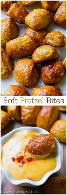 I have made Jalapeno Cheddar pretzel bites as well! Chewy & soft pretzel bites served with a kickin' cheese dip is the ultimate comfort food and party snack. Appetizer Recipes, Snack Recipes, Cooking Recipes, Pretzel Recipes, Party Recipes, Bread Recipes, Yummy Snacks, Yummy Food, Tasty