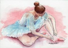ACEO Original Painting Ballerina dancer ballet girl figure woman slippers #Impressionism