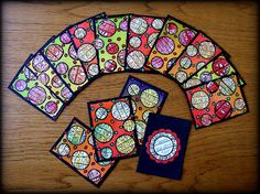 "Ingrid Dijkers: ""Circles"" Artist Trading Cards  -Love the simplicity, love the color,  what a well executed design!"