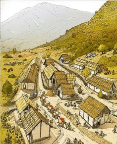 Town in the Simplon Pass in 650 BCE by André Houot