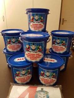 Thomas the train party buckets and personalised t-shirt