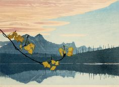 Walter J. Phillips(Canadian, 1884-1963) Leaf of Gold/gold leafing add just the right flourish to this lovely print!