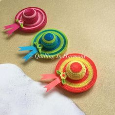 New addition to beach theme...beach hats. It's coming together slowly but surelyQuilling, hand crafted paper artwork by Jan and Shannon. For  custom orders please contact us at quilling_in_harmony@hotmail This image is copyrighted to ©quilling_in_harmony. All rights reserved. Do not reproduce or copy my designs. Thanks so much #beach #ocean #hats