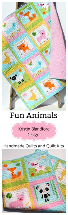 Fun Animals Baby Quilt, Handmade Quilt for Toddler, Crib Blanket, Personalized Name, Monogrammed Bedding, DIY Sewing Quilting Project Ideas, Wholecloth Panel Quilt Kit in Baby and Toddler Sizes, Pink Aqua Blue Pastel Dachshund Dog Cat Duck Fox Sheep Panda, by Kristin Blandford Designs #personalizedquilt #monogrammedblanket, handmade
