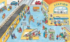 Describing a Train Station. Picture Composition, Picture Writing Prompts, Airplane Travel, Learning Spaces, Eyfs, English Lessons, Happy Colors, Toddler Preschool, Teaching English