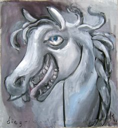 Painting titled Laughing Horse for sale, of the artist Diego Manuel. Pintura titulada risa de caballo en venta, del artista Diego Manuel