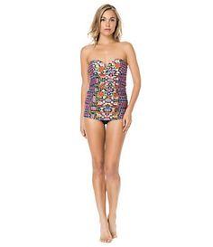 3a57153c33 Jessica Simpson Folkloric Floral Underwire Bandeau Swimdress