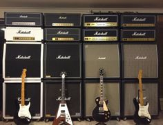 Dream Guitar Studio Wall Of Marshall Stacks, Strats, Flying V, Les Paul