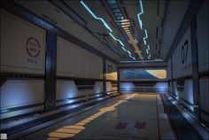 A spaceship environment rendered in Marmoset with compositing done in Photoshop. Art by Mouhsine Adnani. Spaceship Interior, Futuristic Interior, Futuristic City, Blade Runner, Sci Fi Rpg, Star Wars, Mechanical Design, Environment Concept Art, Environmental Art