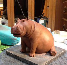 Pottery Animals, Ceramic Animals, Clay Animals, Sculptures Céramiques, Sculpture Clay, Ceramic Clay, Ceramic Pottery, Rhino Art, Hippopotamus For Christmas