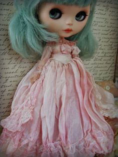 OOAK Blythe Couture Luxe Princess Gown - Hand-Dyed Shell Pink Silk and Tulle