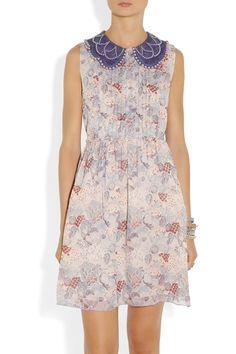 Anna Sui|Embellished printed silk-chiffon dress|NET-A-PORTER.COM