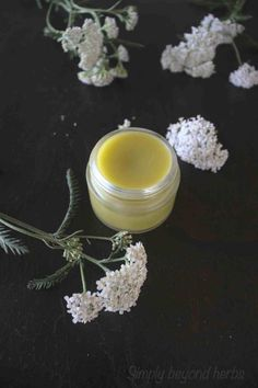this healing salve offers double action for healing wounds and injuries. Its antibacterial activity protects wounds from going septic. Together with regenerating cells action yarrow salve is a go to item in your first aid kit. Herbs For Health, Natural Parenting, Wound Healing, First Aid Kit, Growing Herbs, Medicinal Herbs, Natural Living, Natural Skin Care, Real Food Recipes