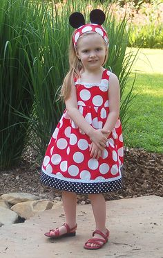 Minnie dots Disney Vacation Halter Dress by by littleellaroo