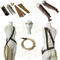 Handmade 2017 Wonder Woman Costume Accessories   This listing consists of either of the two following options to choose from to order:  1st Package Selection - Headwear Piece - Armband - Bracer - Straps - Gloves - Boot covers - Lasso / Rope (not whip) ***Please provide Your Size selection from the Size Chart below or body measurements***   Or  2nd Package Selection  - Boot covers Only  ***Please provide your measurements as listed in the below description***     Size Chart   XXS, ...