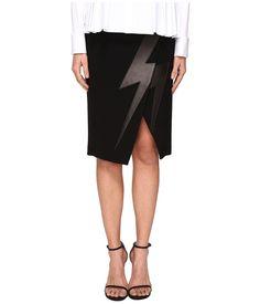 NEIL BARRETT NEIL BARRETT - THUNDERBOLT JAPANESE CREPE (BLACK) WOMEN'S SKIRT. #neilbarrett #cloth #