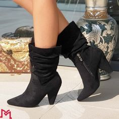 Cizme Dama cu Toc XKK122 Black Mei Knee Boots, Booty, Ankle, Shoes, Black, Fashion, Moda, Swag, Zapatos
