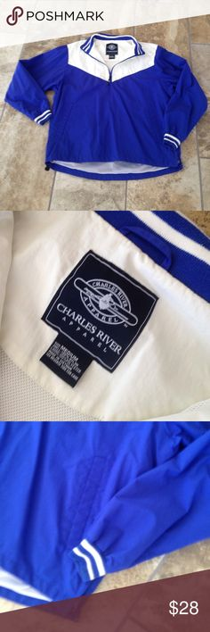 New Listing! 🎉Pullover jacket Navy/white pullover jacket. Zipper in front and toggle side pull. It does have an AutoTrader logo on arm which is shown in the last pic. No tags but never worn. It's a men's medium girls large. Charles River Apparel Jackets & Coats
