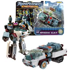 "Hasbro Transformers Energon Series 6"" Tall Figure - SNOW CAT with Missile Launcher, Fold Down Skis and Collector Card (Vehicle Mode: Arctic Rover)"