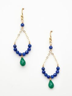lapis and emerald chain teardrop earrings by wendy mink