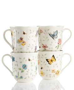 Butterfly Meadow China | Lenox Dinnerware, Set of 4 Butterfly Meadow Petite Assorted Mugs