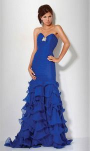 Chiffon Sweetheart Strapless Tiered Mermaid Prom / Evening Dress