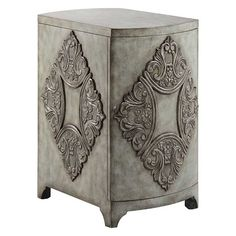 Furniture :: Curio Cabinets and Chests :: Accent Chests  TRADITIONAL SINGLE DOOR ACCENT CHEST IN ANTIQUE GREY FINISH  The Penelope Accent cabinet offers traditional styling with its raised diamond French-inspired design. This cabinet has one door that opens up to one adjustable shelf providing ample storage space. The hand-painted antique grey morning finish gives this piece a bit of a vintage look.