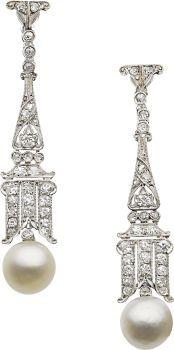 Art Deco Natural Pearl, Diamond, Platinum, White Gold Earrings