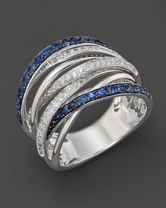 Bloomingdale's Diamond and Sapphire Crossover Band in 14K White Gold on shopstyle.com